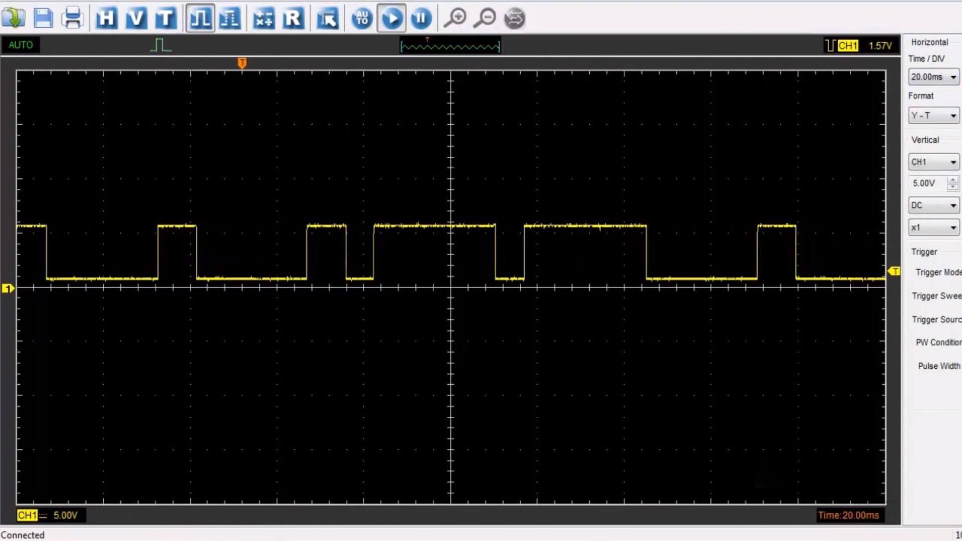 Gráfico do osciloscópio (oscilogramas) do sensor Hall para o veículo Audi A4 2.0 16V Turbo FSI 180cv.