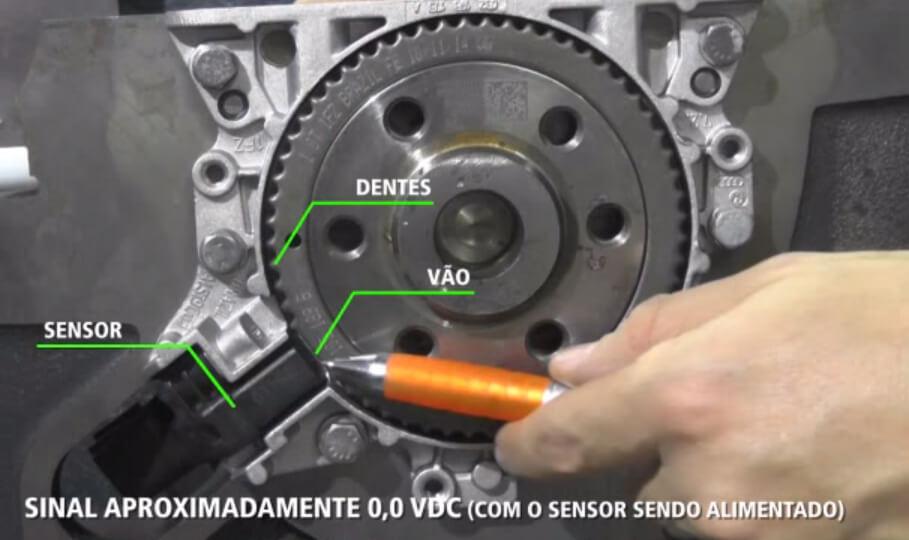 Elemento sensor em frente ao vão da roda fônica.
