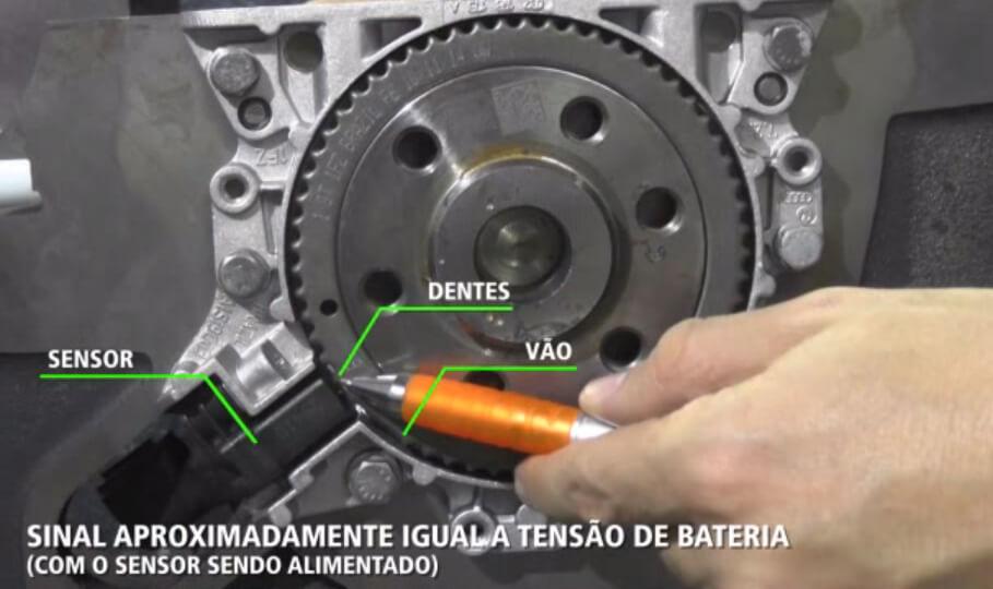 Elemento sensor em frente ao dente da roda fônica.