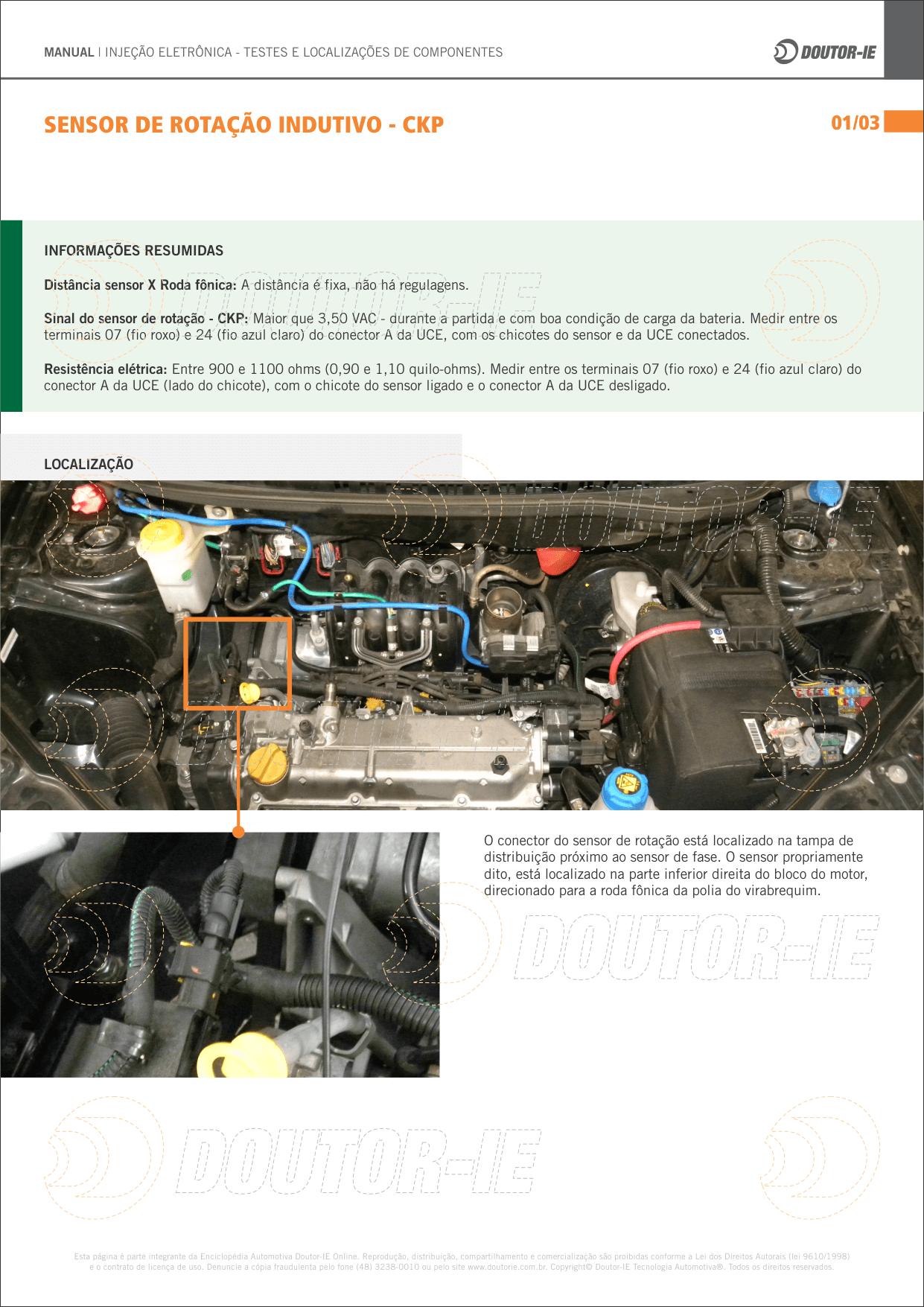 Página sobre sensor de rotação indutivo do manual da Doutor-IE